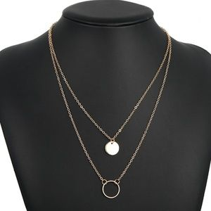 *GENEVIEVE* Round Pendant Layered Fashion Necklace